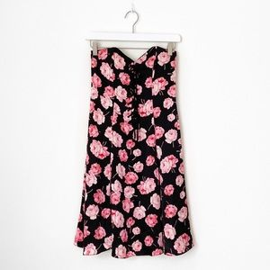Betsey Johnson Silk Rose Tie Up Strapless Dress